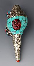 A FINELY CARVED SILVER PLATED TURQUOISE CONCH