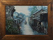 A ZHI GUO OIL PAINTING WITH FRAME