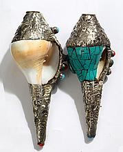 A PAIR OF SILVER PLATED TIBETAN RELIGIOUS CONCH