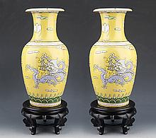 A PAIR OF FINELY PAINTED YELLOW COLOR PORCELAIN BOTTLE