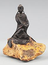 A ROSEWOOD FIGURE OF WOMEN