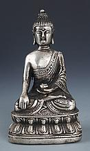 A WELL DESIGNED SILVER PLATED FIGURE OF BUDDHA