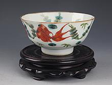 A FISH PAINTED PORCELAIN BOWL