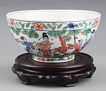 A COLORFUL PAINTED PORCELAIN BOWL