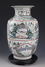 A LARGE AND FINELY STORY PAINTED PORCELAIN JAR
