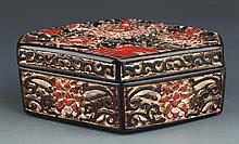 A GILT-LACQUERED FINELY PAINTED WOODEN BOX WITH COVER