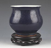 A BLUE COLOR PORCELAIN CENSER