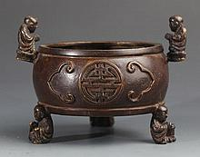 A FINELY CARVED CHILDREN FIGURE BRONZE CENSER