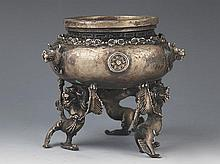 A FINE AND DETAIL CARVED SILVER PLATED CENSER