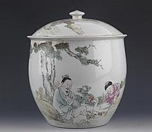 A FINE STORY PAINTED PORCELAIN JAR WITH COVER