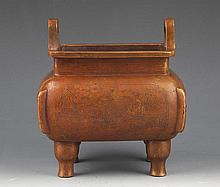 A FINELY STORY CARVING BRONZE STAND CENSER