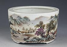 A FINELY MOUTAIN AND RIVER PAINTED PORCELAIN CENSER