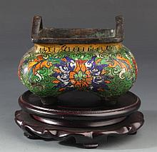 A BRONZE FINELY CLOISONNÉ ENAMEL CARVING CENSER