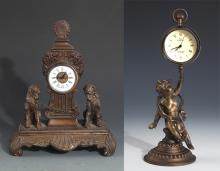TWO FINELY CARVED BRONZE TABLE CLOCK