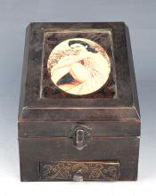 A BRONZE AND WOOD JEWELRY BOX