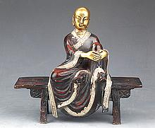 A DETAIL COLORED AND GILT BRONZE BUDDHA