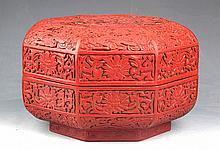 A RED COLOR FINELY CARVED WOODEN BOX