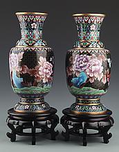 A PAIR OF LARGE ENAMEL PAINTED BRONZE FLOWER JAR