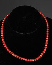 A FINE CORAL NECKLACE (64 Pcs)