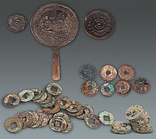 A GROUP OF OLD BRONZE COIN AND BRONZE MIRROR