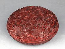 A RED COLOR FINELY CARVED WOODEN MAKE UP BOX