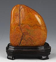 A FINELY STORY PINE TREE CARVED SHOU SHAN STONE