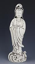 A DETAIL CARVED PORCELAIN GUAN YIN MODEL