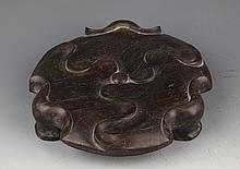 A FINELY CARVED ROSEWOOD LOTUS SHAPED CENSER STAND