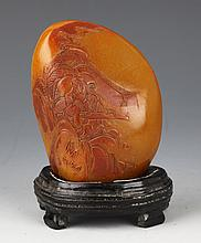 A FINELY STORY CARVED SHOU SHAN STONE DECOREATION