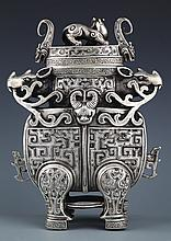 A RARE AND FINELY HANDCARVING SILVER PLATED VASE