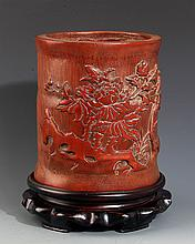 A FINELY CARVED BAMBOO BRUSHPOT