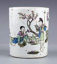 A COLORED STORY PAINTED PORCELAIN BRUSH POT