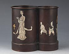 A STORY CARVED BRONZE BAMBOO LIKE BRUSH POT