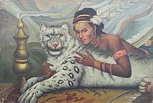 A WOMEN AND WHITE LION OIL PAINTING
