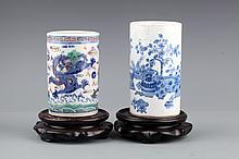 A PAIR OF COLORED PORCELAIN BRUSH POT