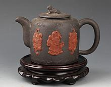 A BLACK COLOR YI XING ZISHA TEA POT
