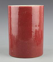 A LARGE RED COLOR PORCELAIN BRUSH POT