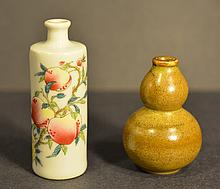 TWO SNUFF BOTTLES OF 19TH C.