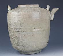A LARGE TWO HANDLE PORCELAIN WATER POT