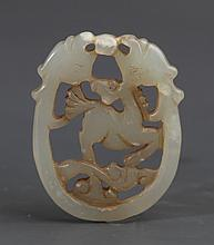 A FINELY HORSE CARVING GREENISH WHITE JADE PENDANT