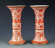 A PAIR OF LANG YAO FAMILLE-ROSE FLOWER PORCELAIN JAR