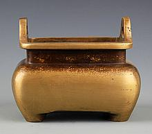 A DOUBLE EAR SQUIRE BRONZE CENSER