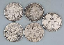 CHECK, A GROUP OF FIVE CHINESE COIN
