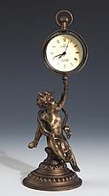 A WELL ANGEL DESIGN WESTERN STYLE BRONZE COLOCK