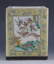 FINELY PAINTED SQUIRE PORCELAIN BRUSH POT