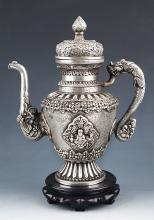 LARGE FINELY CARVED BRONZE WATER POT