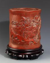 FINELY CARVED BAMBOO BRUSH POT