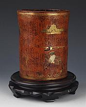 A PAINTED CHINESE LACQUER WOODEN BRUSH POT