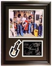 The RollingStones  Giclee, mini guitar & engraved signatures