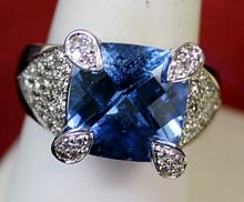 Lady's 14K White Gold Blue Topaz/Diamond Ring (4)